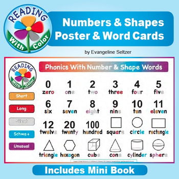 Reading With Color: Numbers & Shapes Poster, Word Cards, & Mini Book