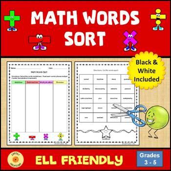 Math Words Sorting Activity
