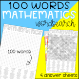 Math Wordsearch (Mathematics / Maths)