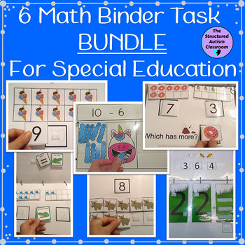 Math Work Binder Bundle for Autism and Special Education (6 Binders)