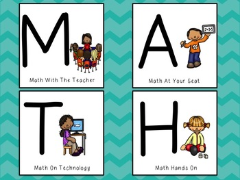 Math Work Board~Can be used for centers, rotations, and grouping! Back to School