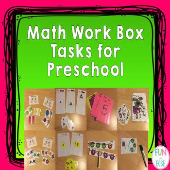 Math Work Box Tasks for Preschool