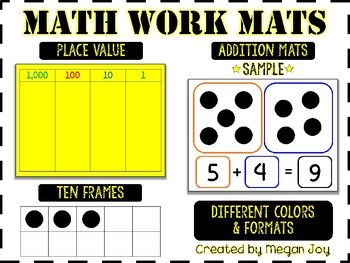 Math Work Mats for Place Value & Addition