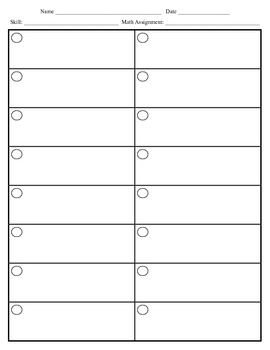 Math Work Organizer 20 Problems for Bookwork and Other Assignments