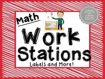 Math Work Station Labels