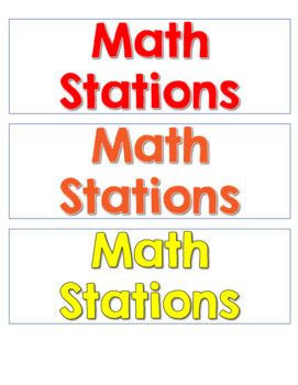 Math and literacy Work Station Management Cards