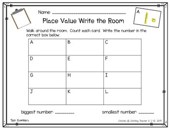 Math Work Station - Place Value Write the Room