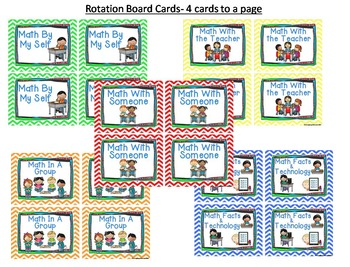 Math Work Station Rotation Board Cards and Signs