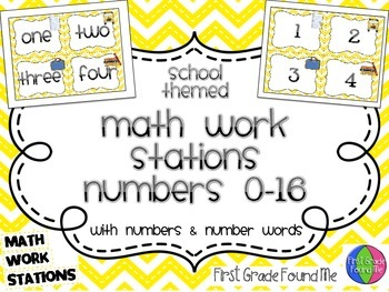 Math Work Stations Numbers- school themed