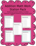 Math Work Stations - adding 3 numbers yearly themes