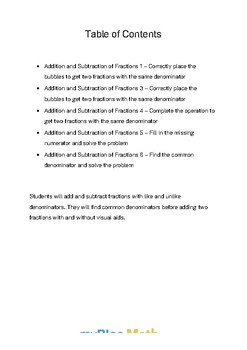 Fractions: Addition and Subtraction of Fractions Bundle