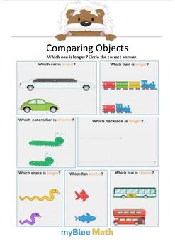 Math Workbook - Measuring Lengths - Kindergarten