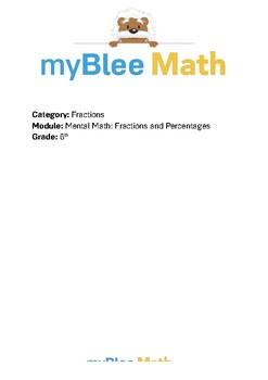 Math Workbook - Mental Math - Fractions and Percentages -