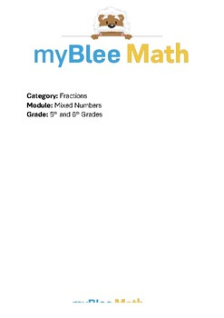 Math Workbook - Mixed Numbers - 5th and 6th Grades