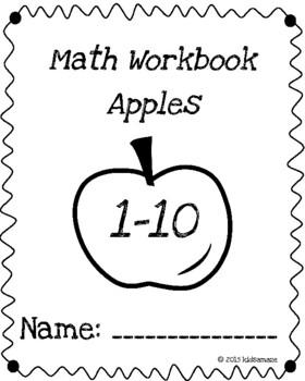 Math Workbook Numerals 1-10 Apples Theme