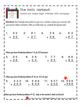 Math Workout Double & Triple Digit Addition