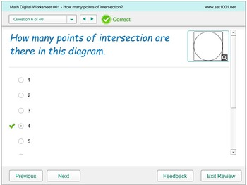 Math Digital Worksheet 001 - How many points of intersection
