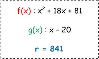 Math Worksheet 0102 - Remainder of polynomial identification