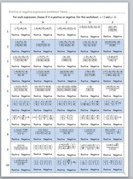 Math Worksheet 003 - Positive or negative