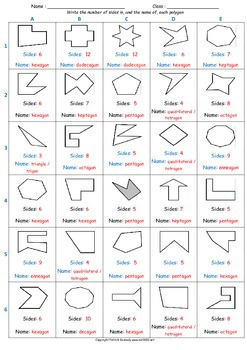 Math Worksheet 0035 - Total sides in and name of polygon