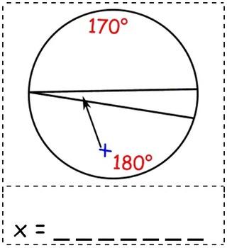 Math Worksheet 0038 - Inscribed angle on circle