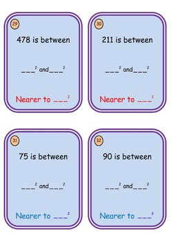 Math Worksheet 004 - Consecutive squared integers worksheet and task cards