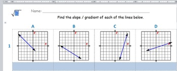 Math Worksheet 0040 - Find the slope_gradient of each line