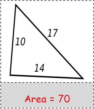Math Worksheet 0043 - Hero's formula