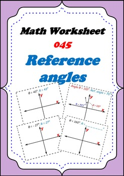 Math Worksheet 0045 - Reference Angle
