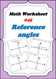 Math Worksheet 0045 - Reference Angle