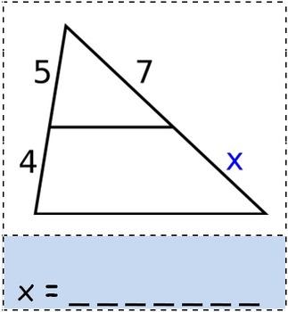 Math Worksheet 0052 - Triangle proportionality theorem
