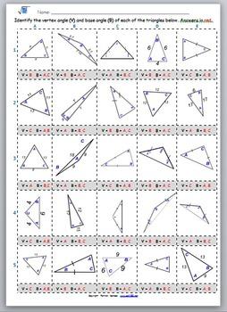Math Worksheet 0056 - Base angle and vertex angle