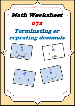 Math Worksheet 0072 - Terminating decimals or repeating decimals