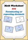 Math Worksheet 0072 - Terminating decimals or repeating decimals