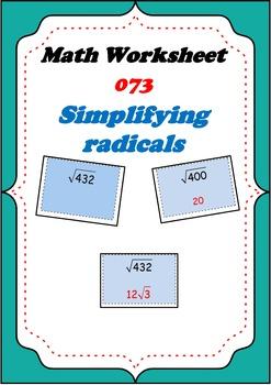 Math Worksheet 0073 - Simplifying radicals square roots