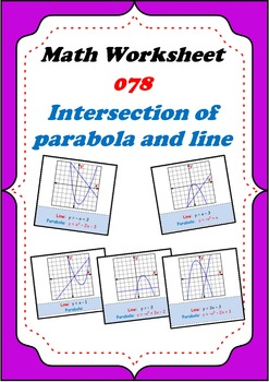 Math Worksheet 0078 - Intersection of parabola and line