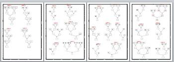 Math Worksheet 0081 - Algebra calculation box tree.