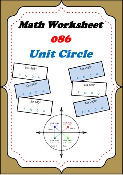 Math Worksheet 0086 - Unit Circle Sine Cos Tan positive negative or neutral