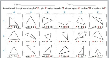 Math Worksheet 009 - Types of Triangles