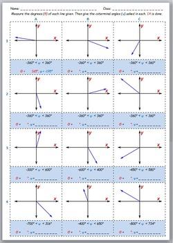 Math Worksheet 0099 - Calculating and drawing / graphing Coterminal Angles
