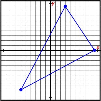 Math Worksheet 0101 - Area of triangle with given coordinates / vertices.