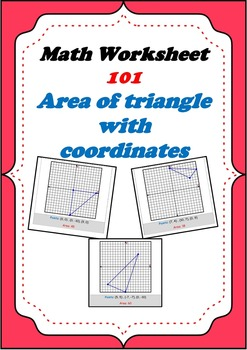 Math Worksheet 0101 - Area of triangle with given coordina