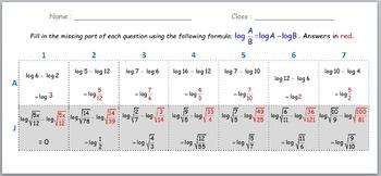 Math Worksheet 012 - Log (A / B) = Log A - Log B