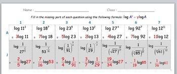 Math Worksheet 013 - LogA^b = bLogA