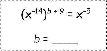 Math Worksheet 062 - Fill in the missing exponent