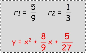 Math Worksheet 065 - Finding a quadratic equation, given the roots.