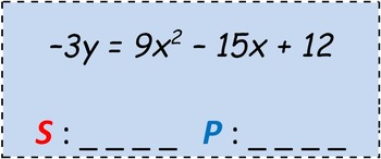 Math Worksheet 066 - Sum of roots and product of roots of quadratic equations.