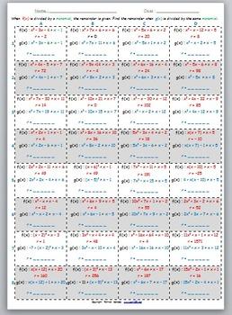 Math Worksheet 079 - Remainder of polynomial