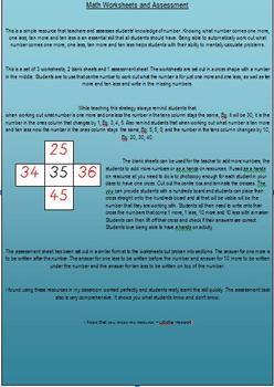 Math Worksheet - 1 more, 1 less, 10 more, 10 less