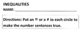 Math Worksheet: ADDITION Problems, Equal and Not Equal - Practice Page or Quiz